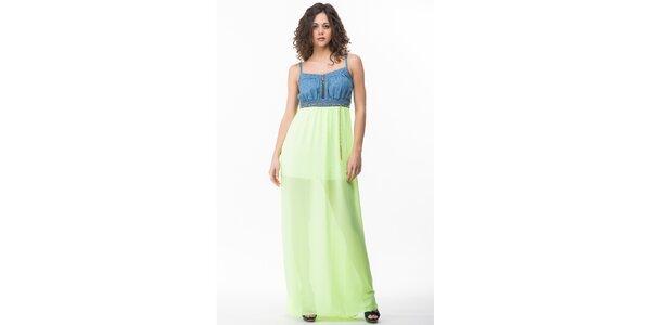 Dámske šaty s neonovo žlutozelenou sukňou Sixie