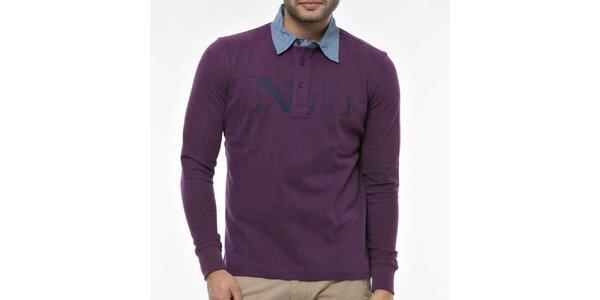 Pánske fialové polo tričko s modrým golierom Nautica