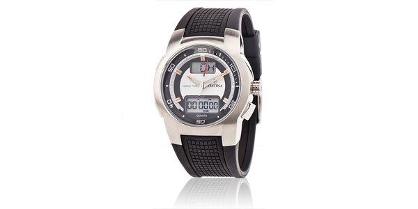 Pánske športové hodinky Festina s čiernym pryžovým remienkom