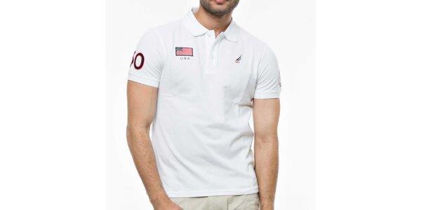 Pánske biele tričko s výšivkami Nautica