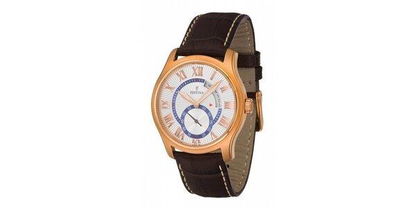 Pánske zlaté oceľové hodinky Festina s hnedým koženým remienkom