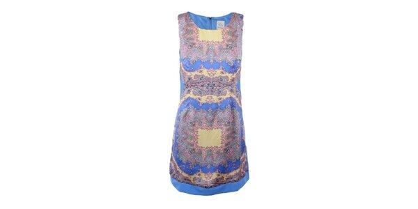 Dámske modré šaty s farebným vzorom na prednom diele Dislay DY Design