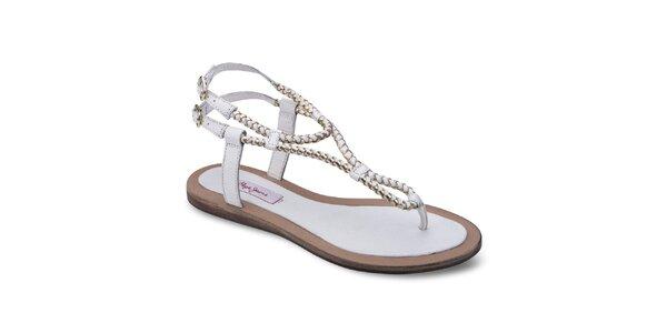 Dámske biele kožené sandále Pepe Jeans