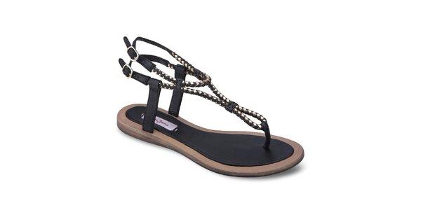 Dámske čierne kožené sandále Pepe Jeans