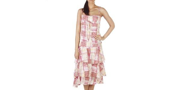 Dámske smotanovo-ružové šaty s volánovou sukňou Savage Culture