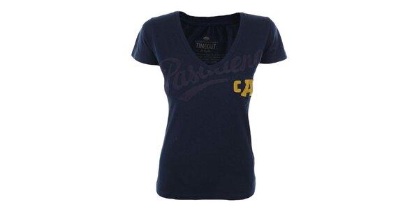 Dámske tmavo modré tričko so žltým detailom Timeout