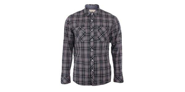 Pánska šedá károvaná košeľa s dlhým rukávom Timeout