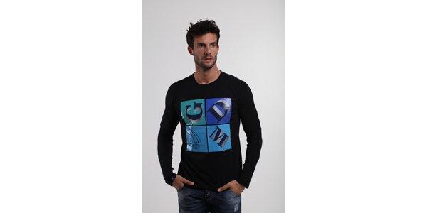 Pánske čierne tričko Giorgio di Mare s modrou potlačou