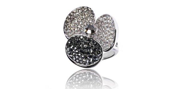 Dámsky prsteň Bague a Dames s čiernymi a bielými kamienkami