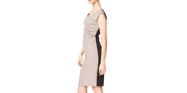 Dámske béžovo-čierne púzdrové šaty Yuliya Babich