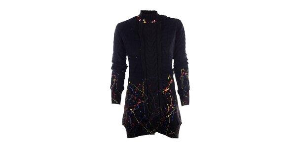 Dámsky čierny sveter s farebnými fŕkancami DY Dislay Design