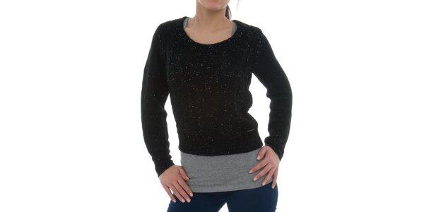 Dámsky čierny melírovaný sveter Ecko Red