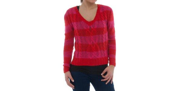 Dámsky červeno-ružový pruhovaný sveter Ecko Red s vrkôčikovým vzorom