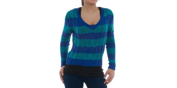 Dámsky modro-tyrkysový pruhovaný sveter Ecko Red s vrkôčikovým vzorom