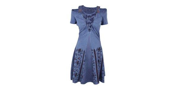 Dámske fialové šaty so širokou sukňou Angels Never Die