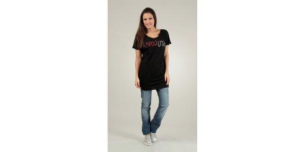 Dámske čierne tričko Free for Humanity s kamienkami