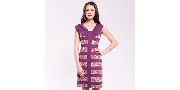 Dámske fialové šaty s potlačou Almatrichi