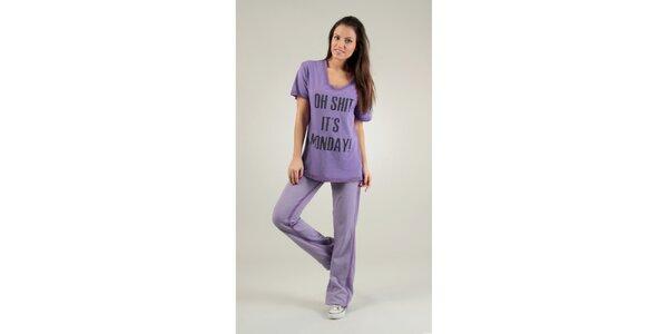 Dámske svetlo fialové tričko Free for Humanity s potlačou a kamienkami