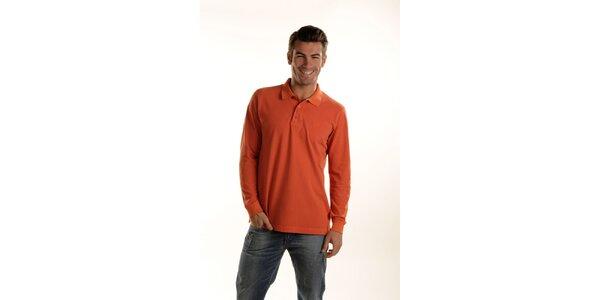 Pánske oranžové polo Gianfranco Ferré s dlhým rukávom