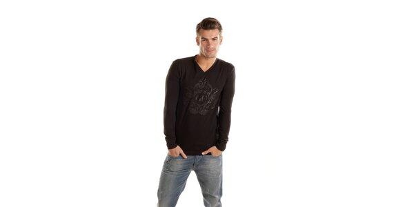 Pánske čierne tričko Gianfranco Ferré s dlhým rukávom a potlačou