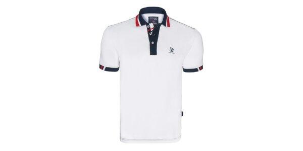 Pánske biele polo tričko s logom na hrudi Giorgio Di Mare