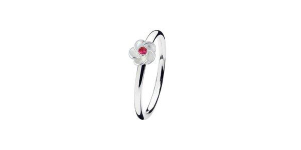 Dámsky prsteň s kvetinou s farebným terčíkom Spinning
