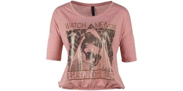 Dámske krátke ružové tričko s potlačou Fresh Made