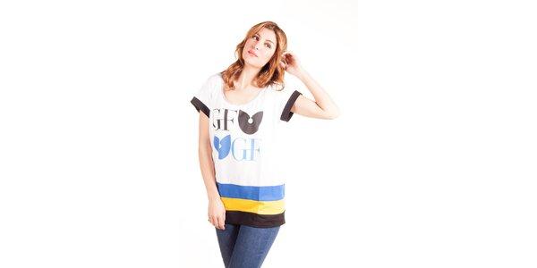 Dámske biele oversized tričko gianfranco Ferré s farebnými pruhmi