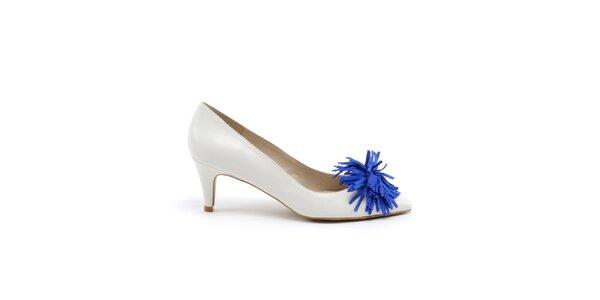Dámske biele lodičky s modrou ozdobou MISU