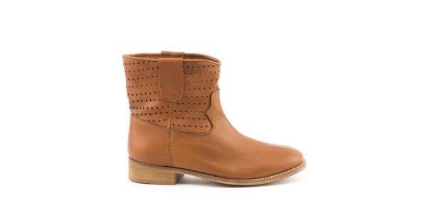 Dámske hnedé členkové topánky MISU