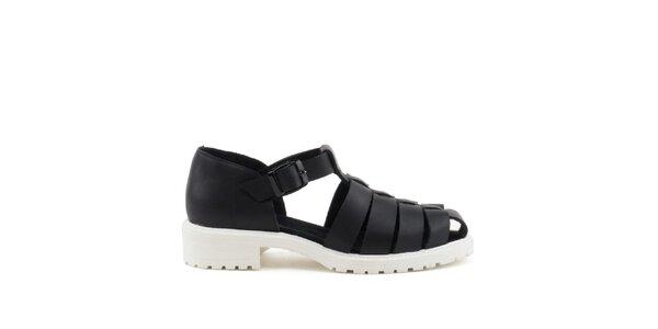Dámske čierne sandále s bielou podrážkou MISU