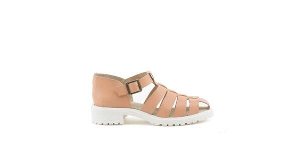 Dámske hnedobéžové sandále s bielou podrážkou MISU