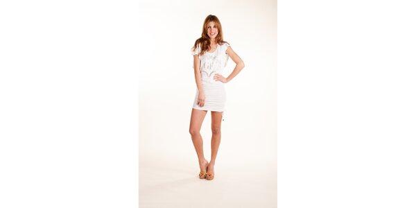 Dámske biele šaty Gianfranco Ferré so striebornou potlačou