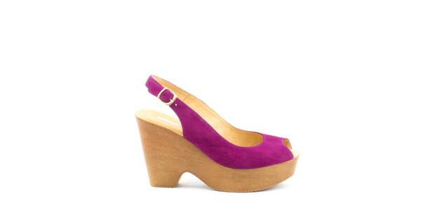 Dámske fuchsiové sandále na širokom opätku a platforme MISU