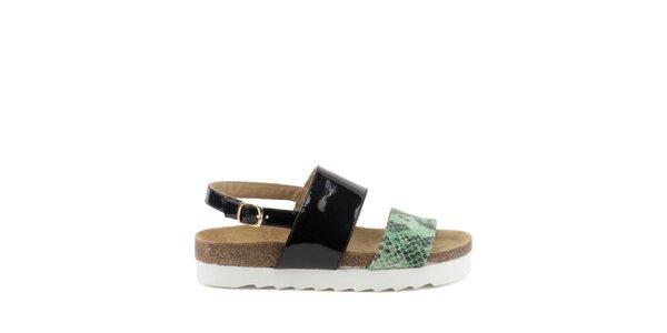 Dámske sandále s čiernym a zeleným remienkom s hadím motívom MISU