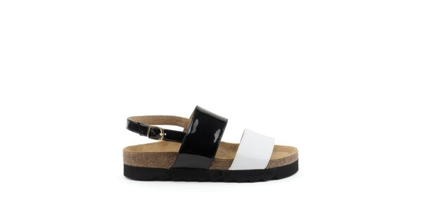 Dámske sandále s čiernym a bielym remienkom MISU