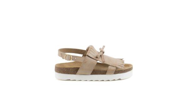 Dámske béžové sandále so strapcami MISU