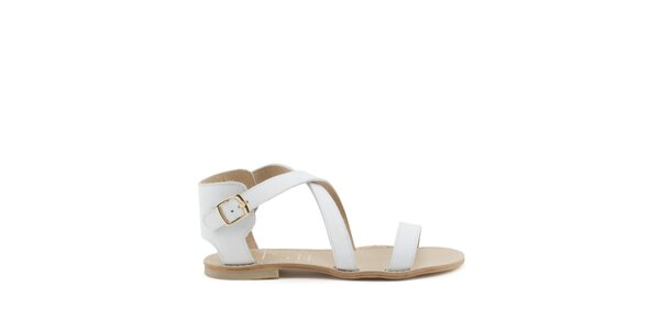 Dámske biele remienkové sandále s prackou MISU