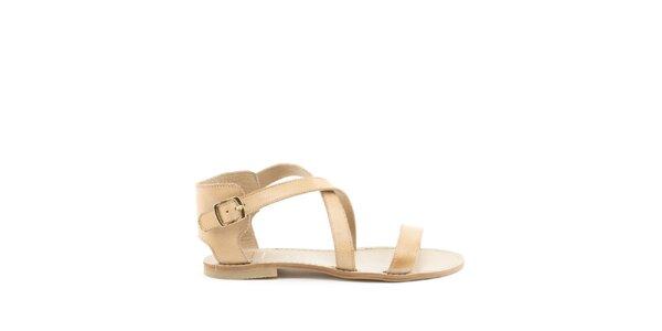 Dámske béžové remienkové sandále s prackou MISU