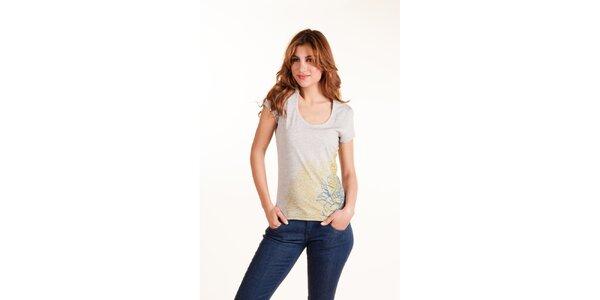 Dámske svetlo šedé tričko Gianfranco Ferré s potlačou