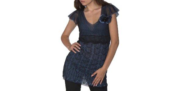 Dámska modro-čierna tunika s krátkym rukávom Arefeva