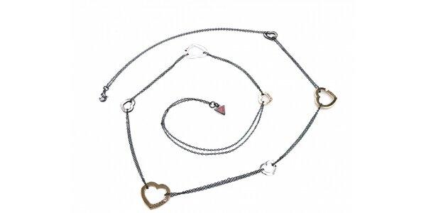 Dámsky strieborný náhrdelník Guess so srdiečkami