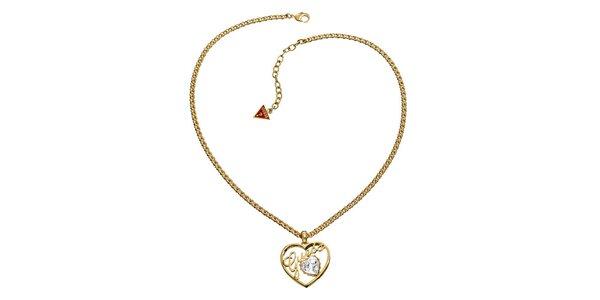 Dámsky oceľový zlatý náhrdelník so srdiečkom Guess