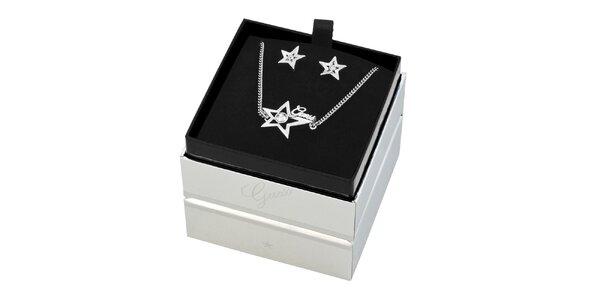 Dámsky set hviezdičkových náušníc a náhrdelníku Guess