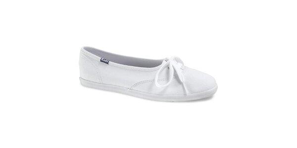 Dámske biele plátené tenisky Keds s mašličkou