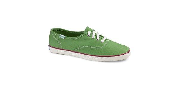 Dámske plátené hráškovo zelené tenisky Keds