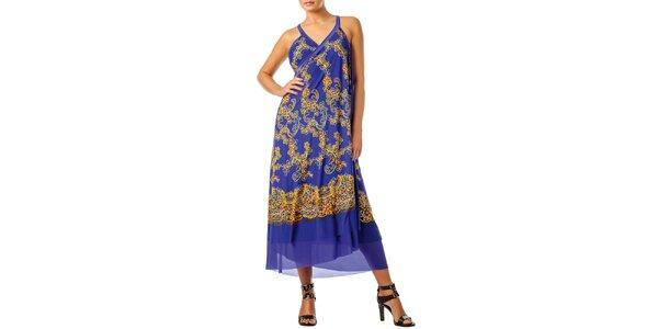 Dámska fialová zavinovacia sukňa s kvietkami Charmante