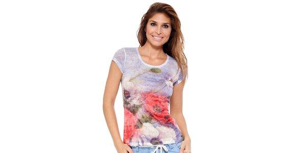 Dámske tričko s kvetinovou potlačou a zdobením Peace&Love