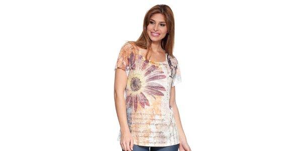 Dámske tričko s potlačou a aplikáciami Peace&Love