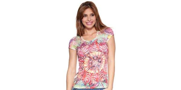 Dámske farebné tričko Peace&Love